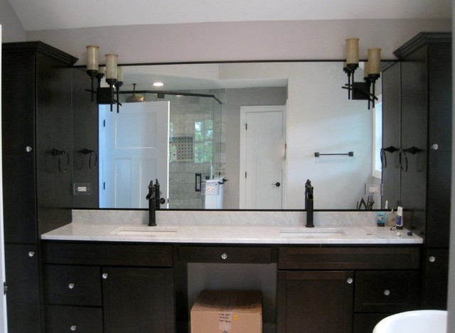 dark wood master bathroom vanities, granite top, square ...
