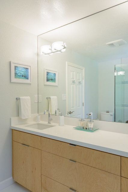 Bathroom - mid-sized contemporary master white tile and porcelain tile porcelain floor bathroom idea in San Francisco with an undermount sink, flat-panel cabinets, light wood cabinets, engineered quartz countertops and white walls