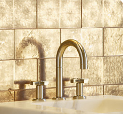 Davlin Gold Leaf Tiles by Ann Sacks bathroom