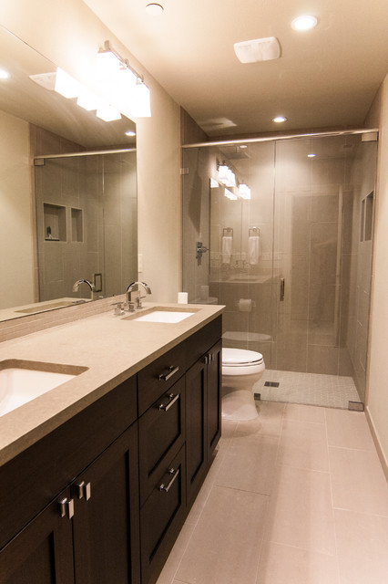 Daylight basement bath modern bathroom seattle by for Bathroom remodel seattle