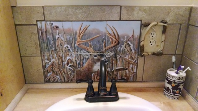 Deer Decorative Tiles In Rustic Cabin Bathroom Tile Backsplash Rustic Bathroom