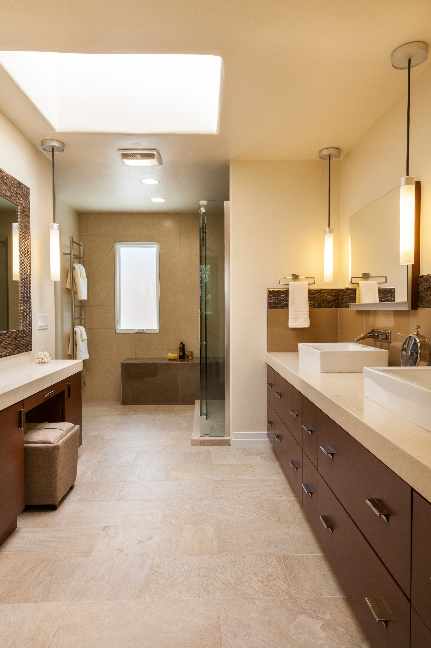 75 Beautiful Beige Tile Bathroom With Recycled Glass Countertops Pictures Ideas February 2021 Houzz