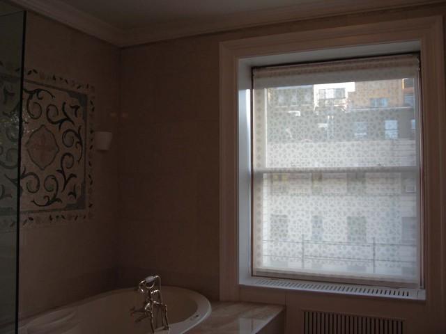 "Delia Shades' Custom Solar Shades In ""Moorish Fret"" pattern eclectic-bathroom"