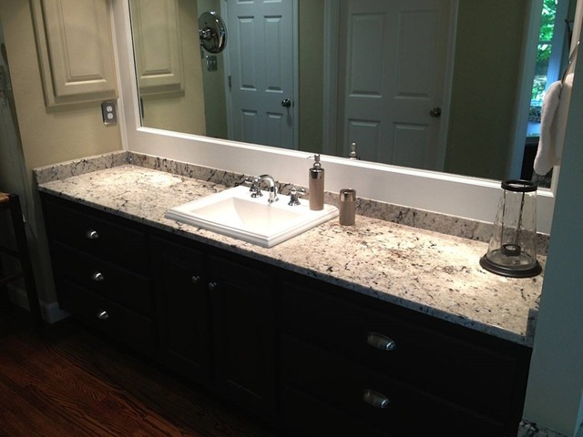 Delicatus White Granite Bathroom Countertops Traditional