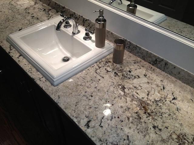 Delicatus White Granite Counter in Master Bathroom - Traditional - Bathroom - Birmingham - by ...