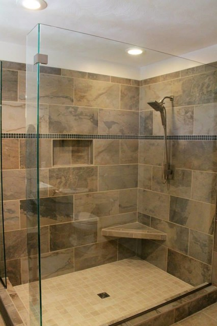 ... In2ition Shower Head, Mosaic Tile Company Slate Green Tile, bathroom