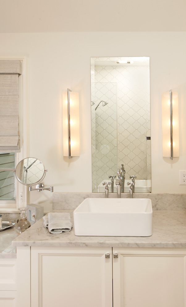 Inspiration for a timeless bathroom remodel in DC Metro with a vessel sink