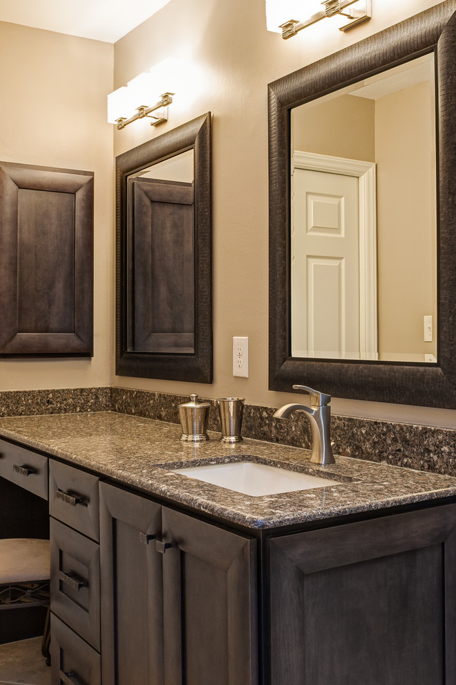 Double shower - mid-sized contemporary master beige tile and porcelain tile porcelain floor double shower idea in Charlotte with an undermount sink, flat-panel cabinets, gray cabinets, engineered quartz countertops, a two-piece toilet and beige walls
