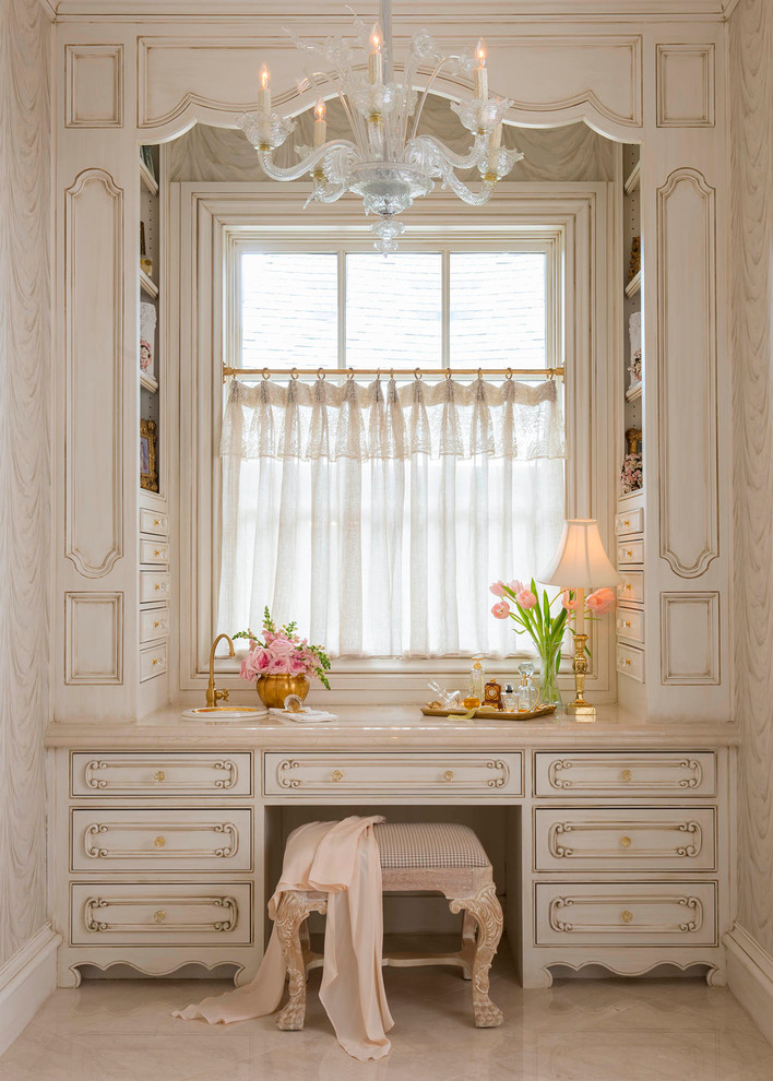 Bathroom - traditional master bathroom idea in Dallas with furniture-like cabinets, beige cabinets and beige walls