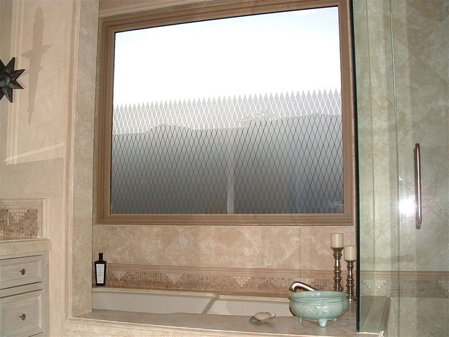 DIAMOND GRID Bathroom Windows - Frosted Glass Designs Privacy Glass modern bathroom