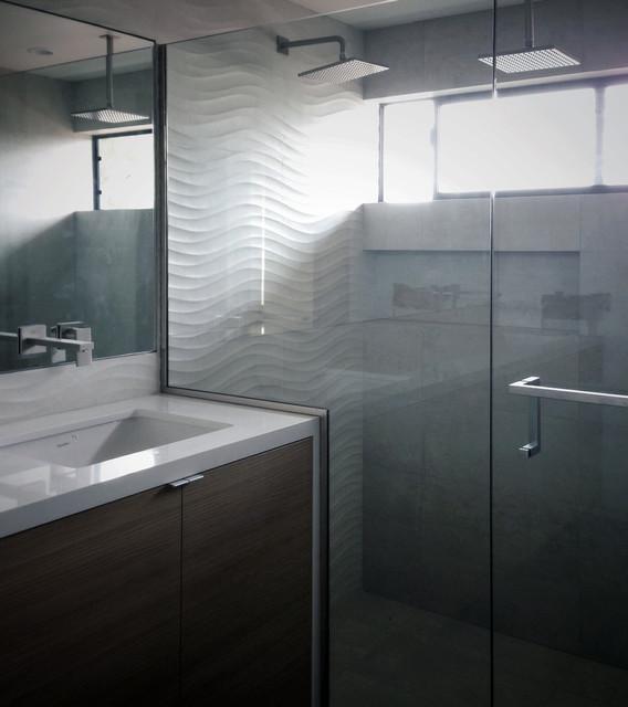 Mid Century Bathroom Tile: Dimensional Tile, Waterfall Vanity + Rift Oak At Master