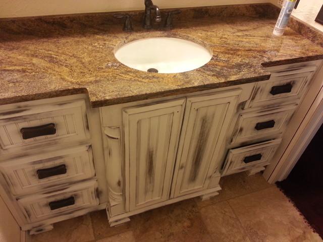 Distressed vanity traditional bathroom oklahoma city for Bathroom cabinets okc