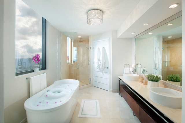 Contemporary Freestanding Bathtub Idea In Miami With A Vessel Sink
