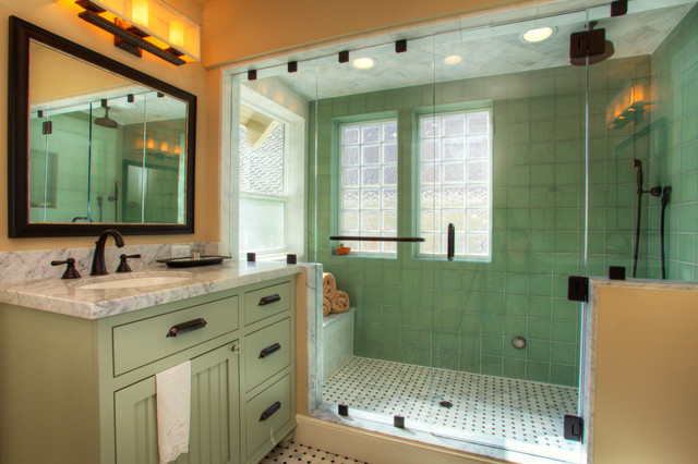 Donner pass whole house remodel craftsman bathroom for Small craftsman bathroom design