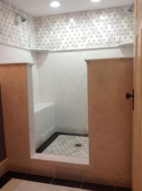 Doorless Carrara Marble Shower Traditional Bathroom