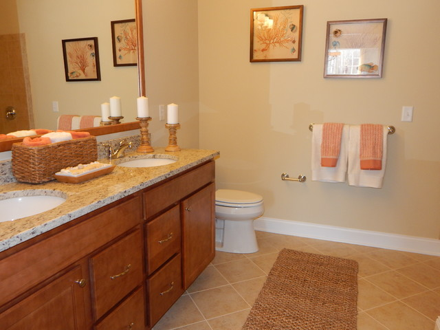 Dorwood model home master bathroom beach style for Model home bathroom photos