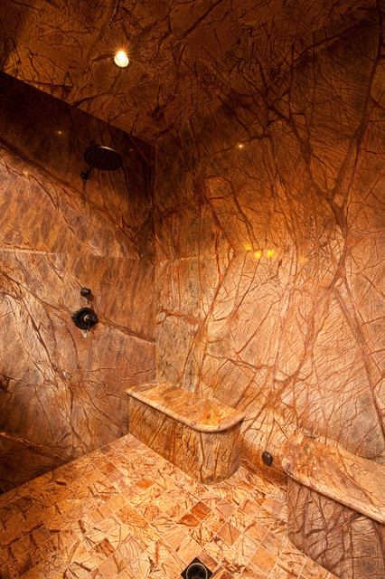 Double Marble Shower Seats Rustic Bathroom other
