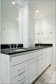 Double Sink Vanity W Center Tower Contemporary