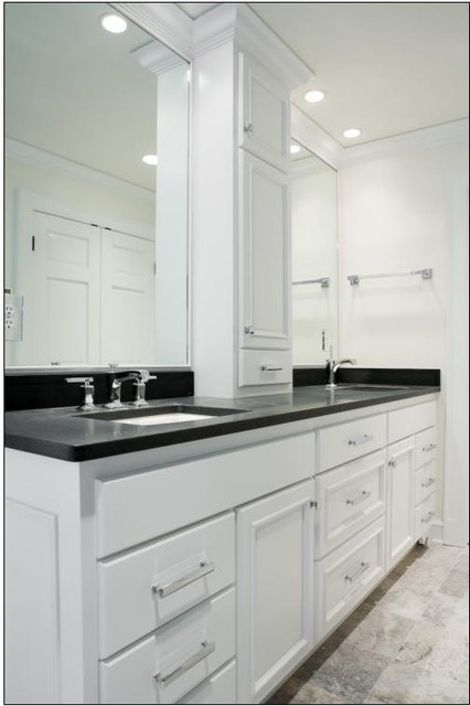 double sink vanity with center cabinet. Double Sink Vanity w  Center Tower contemporary bathroom Contemporary Bathroom