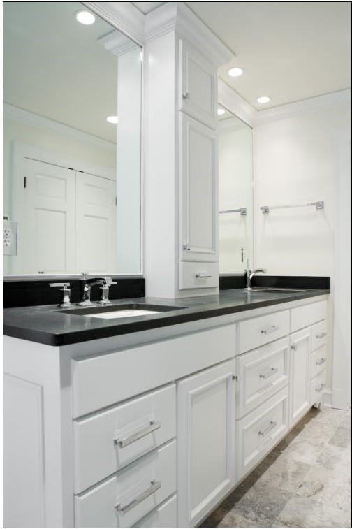 Double Sink Vanity W Center Tower Contemporary Bathroom Milwaukee By A Fillinger Inc Houzz