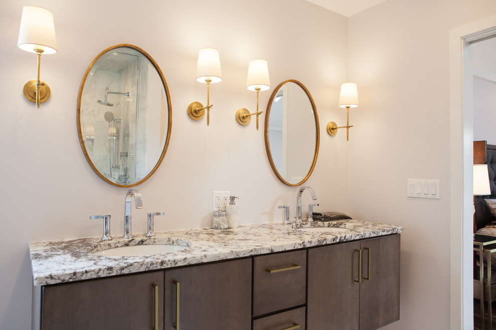 Double Sink Vanity With Gold Round Mirrors Midcentury Bathroom Chicago By Eclectic Design Source