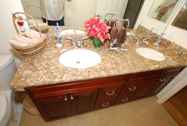 Double Sink Vanity With Porcelain Tile Shower/ Recessed Shampoo Shelf - Traditional - Bathroom ...