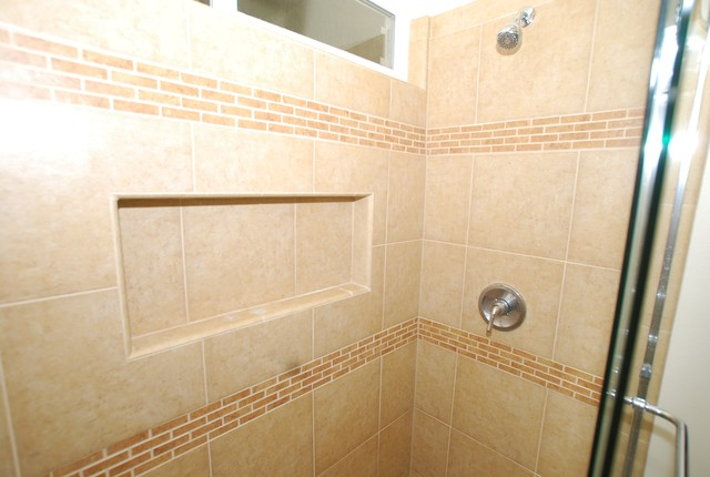 Model   Traditional  Tile  Dc Metro  By Bathroom Tile Shower Shelves