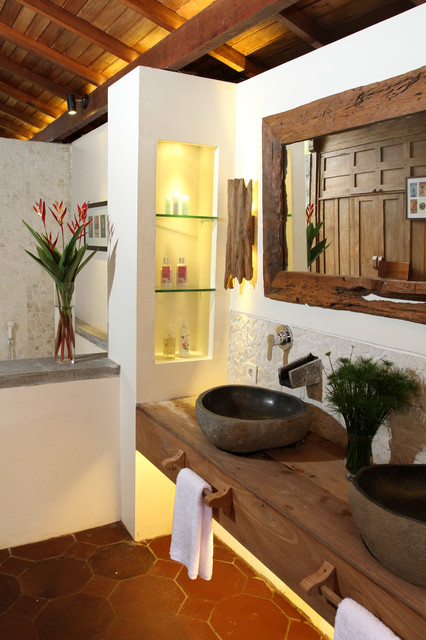 Double sink with floating counter top - Tropical - Bathroom - other metro - by Iwan Sastrawiguna ...