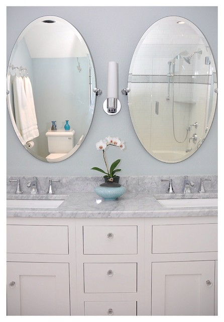 Genial Double Sink With Oval Mirrors Traditional Bathroom
