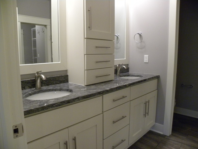 double vanity white with upper cabinets