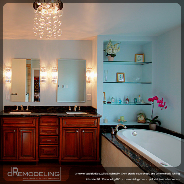 Double vanity with stainless fixtures contemporary-bathroom