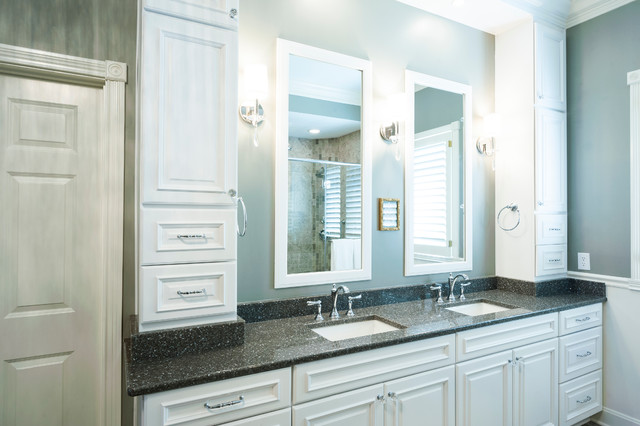 Double vanity with tower cabinets light sconces and  : transitional bathroom from www.houzz.com size 640 x 426 jpeg 68kB