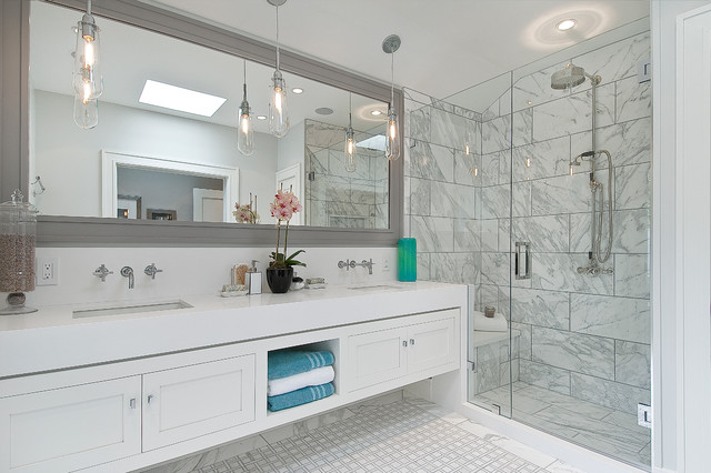 Alcove shower - mid-sized transitional 3/4 white tile and stone tile marble floor alcove shower idea in San Francisco with an undermount sink, shaker cabinets, white cabinets, engineered quartz countertops and white walls