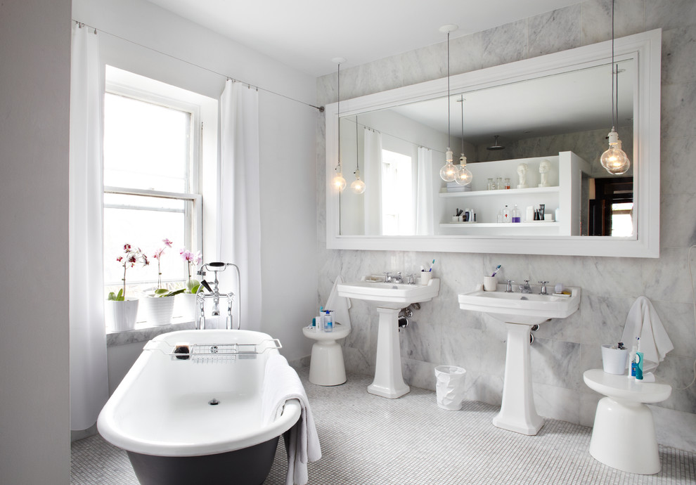 Bathroom - contemporary white tile bathroom idea in Toronto with a pedestal sink and white walls
