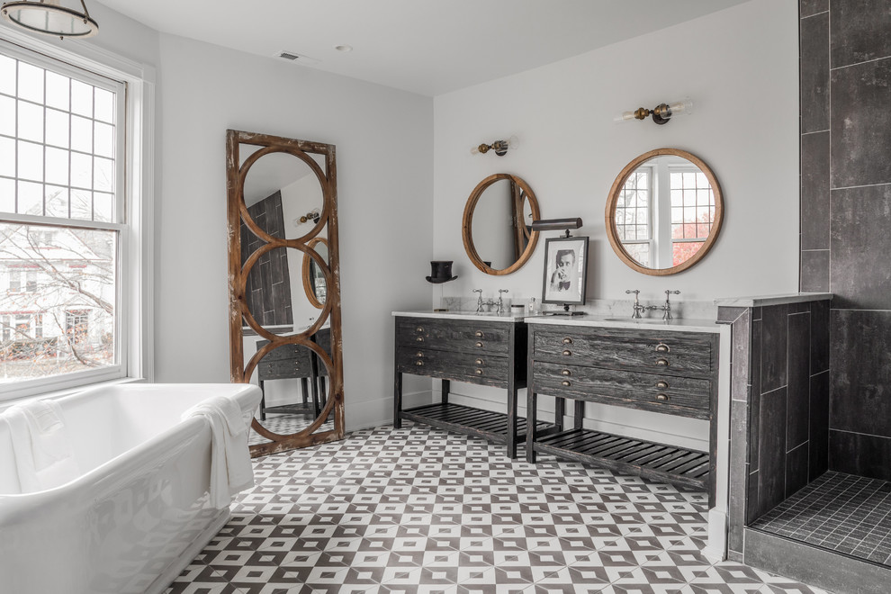 Inspiration for a transitional master gray tile gray floor bathroom remodel in Indianapolis with furniture-like cabinets, gray cabinets, white walls and an undermount sink