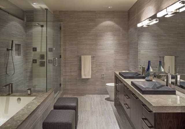 Downtown penthouse contemporary bathroom omaha by interiors joan and associates Master bathroom design photo gallery