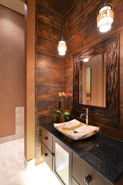 Dramatic modern powder bath transitional bathroom for Dramatic bathroom designs