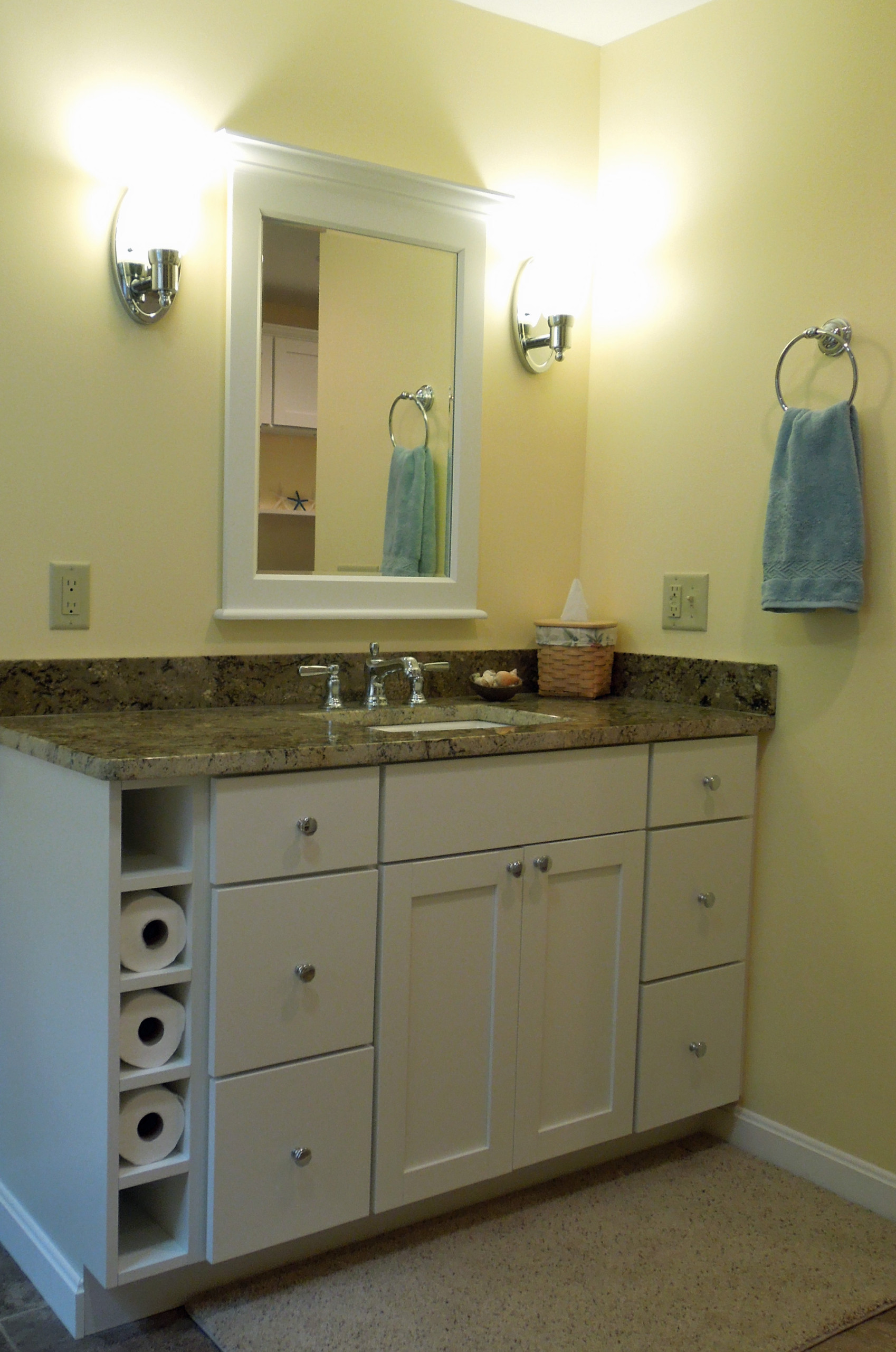 Drawers and cubbies in a lovely bathroom