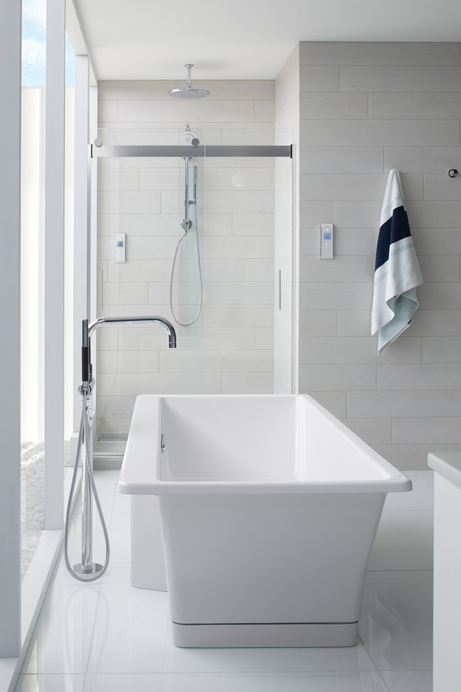 Inspiration for a large contemporary master white tile marble floor bathroom remodel in Milwaukee with gray walls