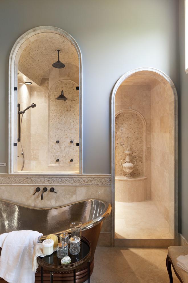 Freestanding bathtub - traditional mosaic tile freestanding bathtub idea in Indianapolis