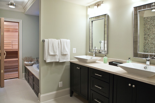Beautiful Bathroom. What Color Are The Walls? Are The Cabinets Ebony Color Or Dark Brown?