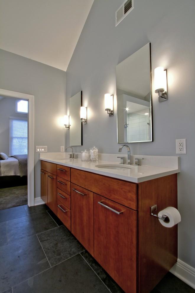 Dual Cherry Vanity Cabinetry - Contemporary - Bathroom ...