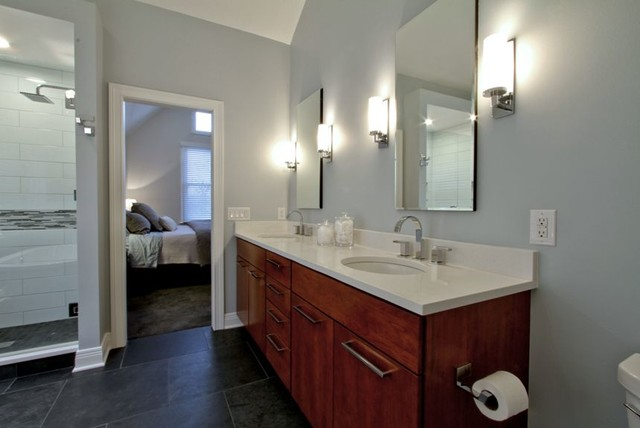 Dual Cherry Vanity With Recessed Medicine Cabinets
