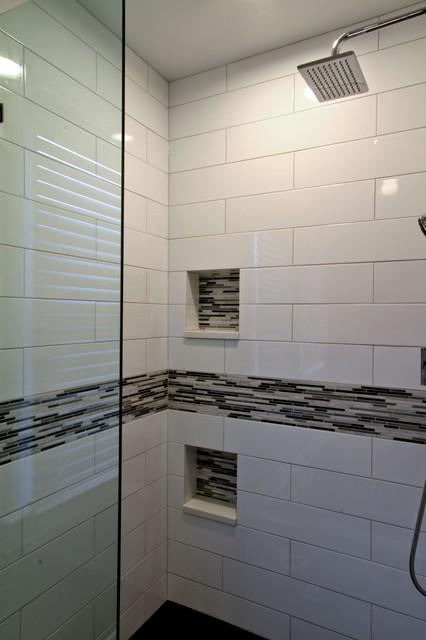 Dual Niche Alcove Shower Contemporary Bathroom