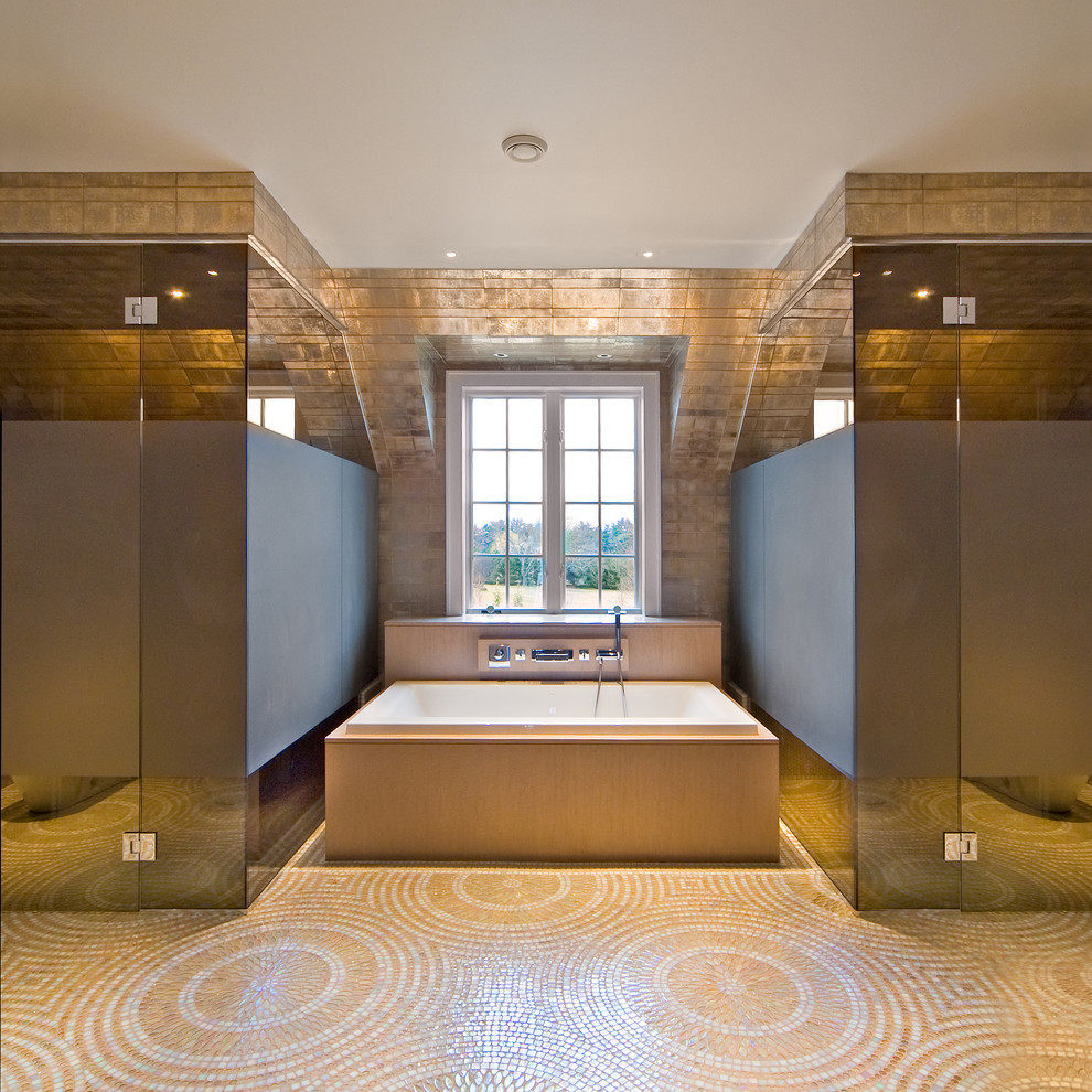 Inspiration for a contemporary mosaic tile double shower remodel in New York