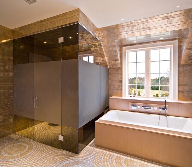Tinted glass shower door