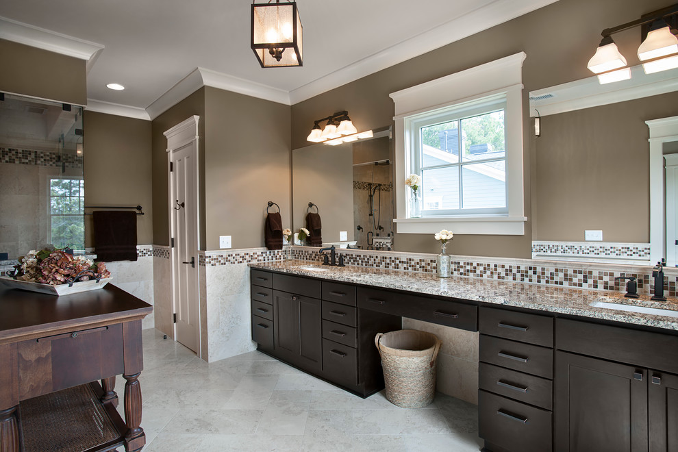 Inspiration for a transitional bathroom remodel in Charleston with an undermount sink and brown walls