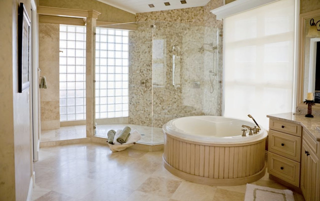 Durango Cream Travertine Tile Bathroom Traditional Bathroom