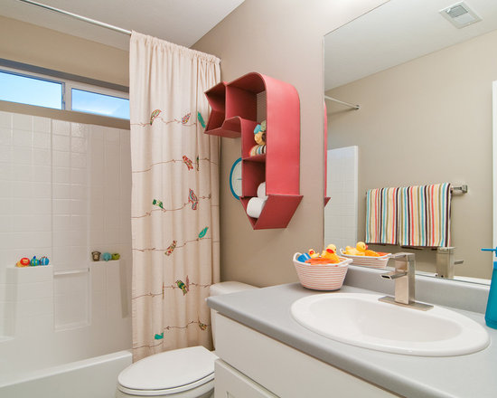 ... Photos with Shaker Cabinets, a Shower/Bathtub Combo and Beige Walls