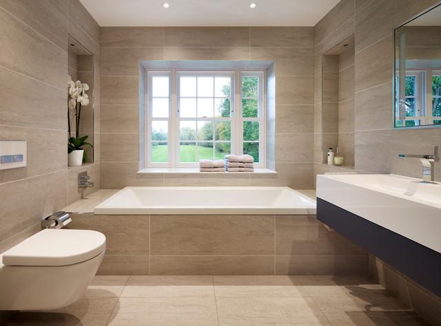 Alcove Bathtub   Large Transitional Master Gray Tile And Porcelain Tile  Porcelain Floor Alcove Bathtub Idea